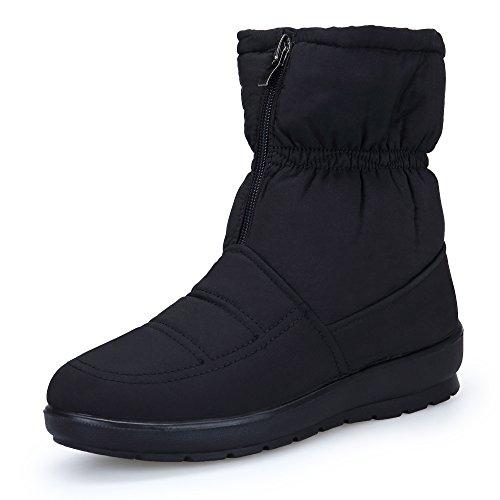 KOUDYEN Zapatos Invierno Botas Mujer Calentar Forrada Botines Planos Cremallera Botas de Nieve (EU42, Negro)