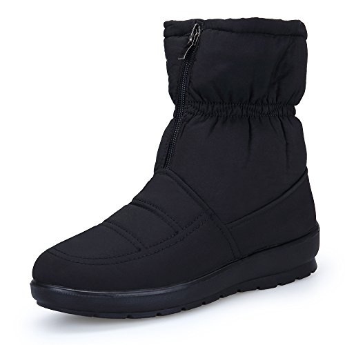KOUDYEN Zapatos Invierno Botas Mujer Calentar Forrada Botines Planos Cremallera Botas de Nieve,MX1308-Black1-EU38