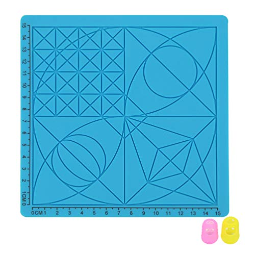 iplusmile 3D Printing Pen Silicone Design Mat with Geometrie Patterns, 3D Printer Pens Drawing Tools with 2PCS Random Color Finger Cases