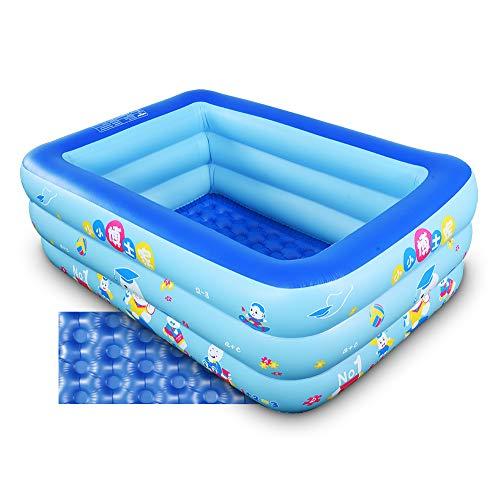 Aufblasbarer Kiddie Pool, Baby Pool mit Aufblasbarem Weichboden, Wasserspiel Aufblasbare Badewanne für Indoor oder Outdoor, Bällebad (59 in Blau)