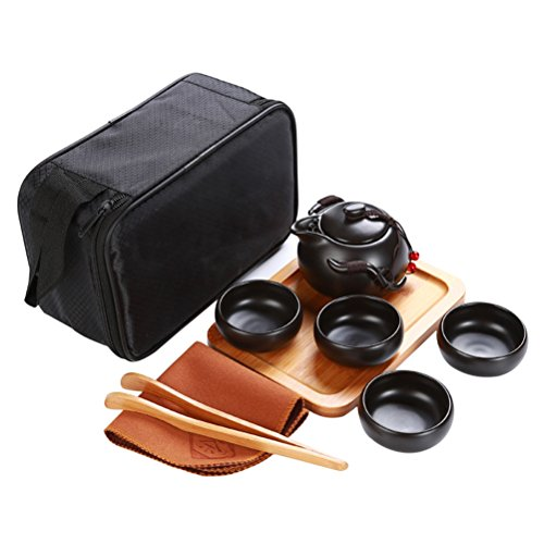 OUNONA Juego de té Kung Fu de Porcelana Chino Juego de té portátil de Viaje Gong Fu con una Tetera (4 Tazas de té + Bandeja de té + paño de té + Bolsa de té + Bolsa de Viaje) (Negro)