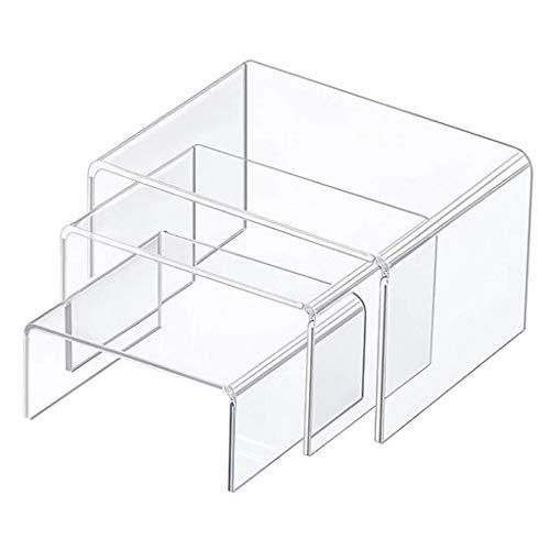 lijun Juego de Vitrina de Soportes de exhibición Vertical de acrílico Transparente Cuadrado de 3 tamaños para configurar joyería