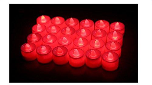 LED Kerzen Lichter, Mytobang 24 X LED Kerzen Tee Lichter,LED Kerzen,LED Teelichter Flammenlose Kerzen, Flammenlose Teelichter für Dekoration, Festivals, Hochzeiten Valentinstag mit Batterien (rot)