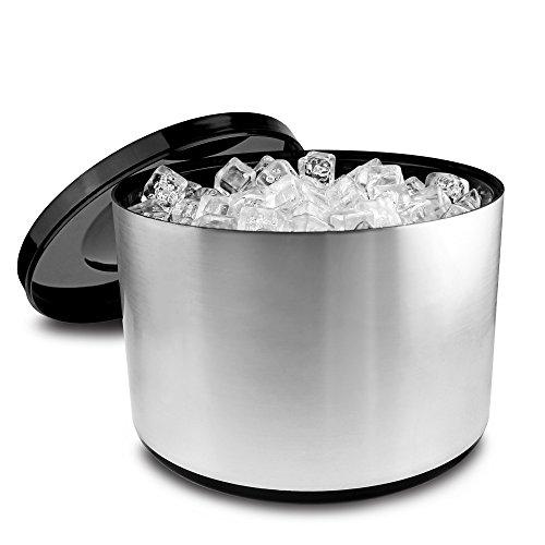 Drinkstuff - Secchiello per ghiaccio da 10 l, in plastica, effetto alluminio satinato,