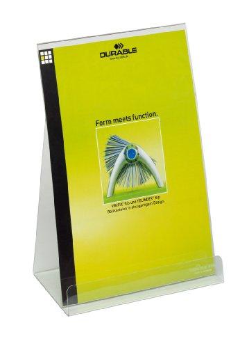 Durable 859419 Displaystandaard / brochurehouder, voor DIN A4-informatie, 2 stuks, kleurloos, voor DIN A4-informatie.