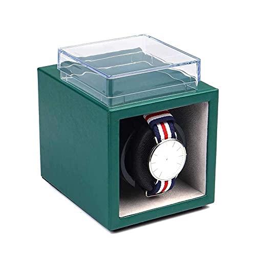 UOOD Raya de Reloj único automático en Cuero Verde con Motor silencioso, Almohadas de Reloj Ajustables, Reloj automático de señora y Hombre. Excelente Mano de Obra