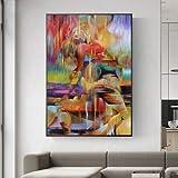 YuFeng_Art_Inn Lienzo De Arte Abstracto Moderno Para Sala De Estar, Pintura Para Muebles, Decoración De Dormitorio, Cuadros De Pared Para Sala De Estar (Ready to hang,24x48inch)