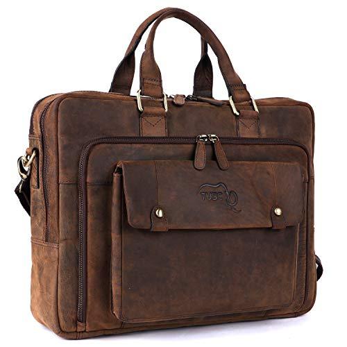 TUSC Oberon Braun Leder Tasche Laptoptasche 14 Zoll 156 Zoll Herren Umhangetasche Aktentasche Schultertasche fur Buro Notebook Messenger Bag Laptop iPad Grose 41x32x13 cm