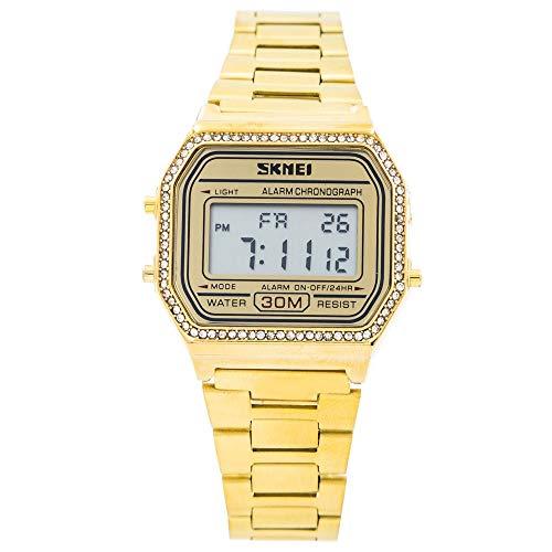 SKMEI - Estuche de reloj de mujer con pulsera de acero dorado