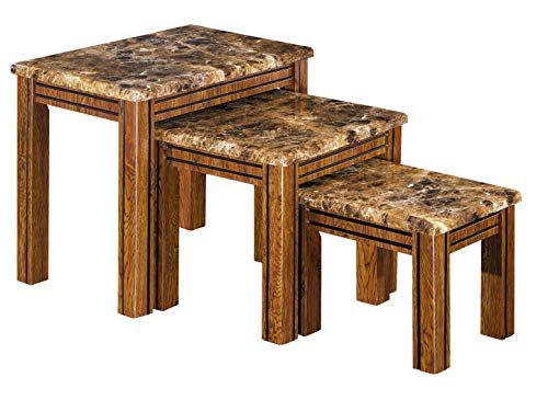 Furniture Express Brown Marble Effect Nest of Tables