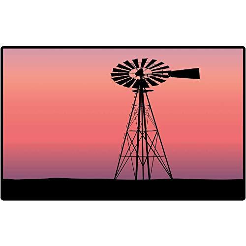Floor Mats Windmill Decor Windmill Silhouette at Dreamlike Sunset Western Ranch Agriculture Floor Mat Rug Indoor/Bathroom Mats Rubber Non Slip 72x48