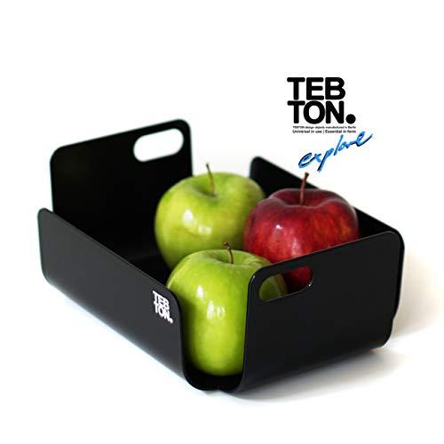 TEBTON® UNIBODY2 (Schwarz, Small) – Obst-Schale aus Metall, Made in Berlin, lebensmittelgerechte Deko-Schale mit Griff, 22 x 16 x 8 cm (LxBxH)