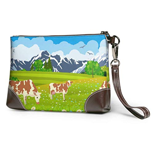 XCNGG Bolso de mano suave impermeable para las vacas en un paisaje y un bolso de mano de noche de granja con cremallera para mujeres y niñas