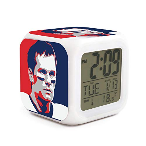 TablincoT Easy Setting Digital Travel Alarm Clock Large Display Time & Month & Date & Temperature &Alarm Handheld Sized, Best Gift for Kids and Family (Football Brady Goat 12 Art Print)