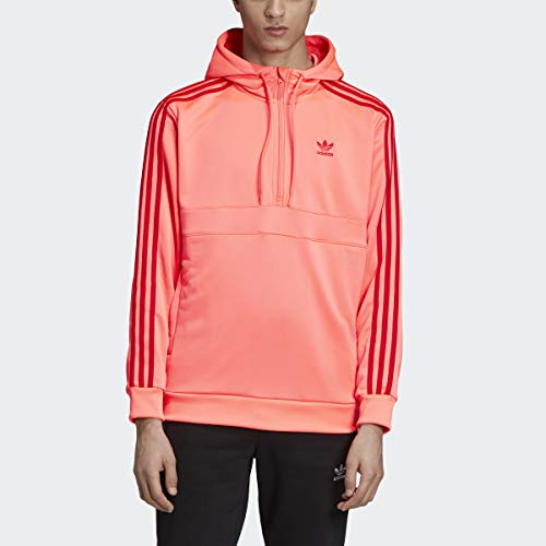 adidas Originals Men's 3-Stripes Half-Zip Sweatshirt, flash red/Scarlet, X-Large