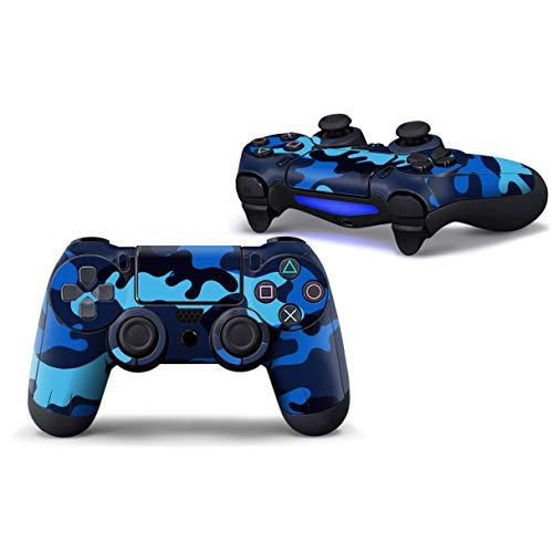 SKINOWN Skin Sticker Schutzfolie für PS4 Playstation Controller Camouflage blau