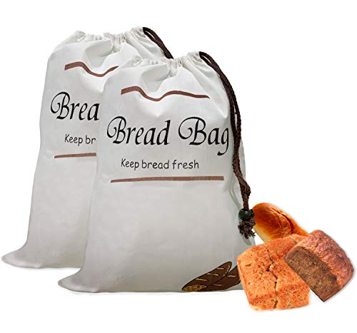 Bread Storage Bag - Reusable Bags for Bakery Supplies and Food Storage - Set of 2 Zero Waste Grocery Bread Keeper Bag FREE Branded Eyeglass Pouch