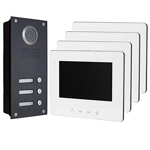 2 draads bus 3 Famillienhuis 7 inch video deurbelinstallatie klmmetinstallatie inbouw 4 x 7 inch monitor in wit.