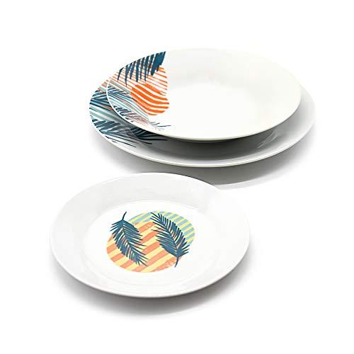 takestop Juego de vajilla de porcelana de 18 piezas con diseño elegante (estampado tropical)