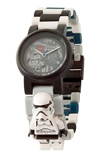 Armbanduhr Lego Star Wars - Stormtrooper, inklusive 12 zusätzlichen Armbandgliedern, Lego Minifigur im Armband integriert, analoges Ziffernblatt, kratzfestes Acrylglas