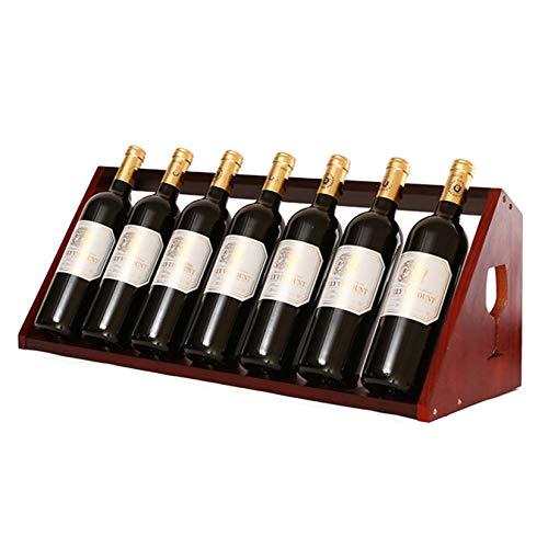 ZHAORU Estante de Vino de Mesa Independiente con Capacidad para 7 Botellas, Estante de encimera de Botellas de Vino de Madera Maciza, Estante de exhibición de decoración de Cocina