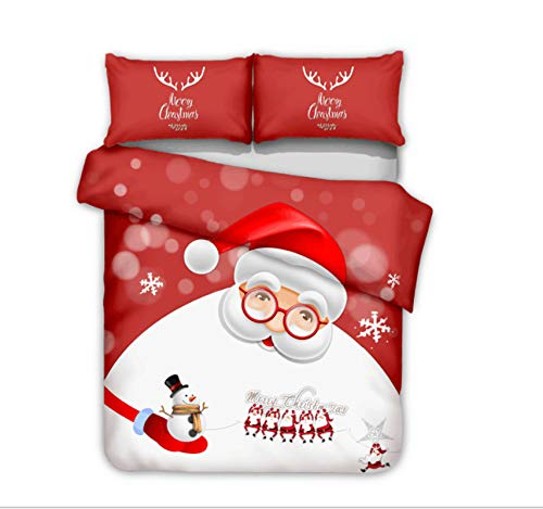 OUANGG Skull 3D Printed Duvet Cover Set, Christmas Santa Claus Deer and Quilt Cover,100% Polyester Bedding Sets for Women Men (B,Queen: 90x90in)