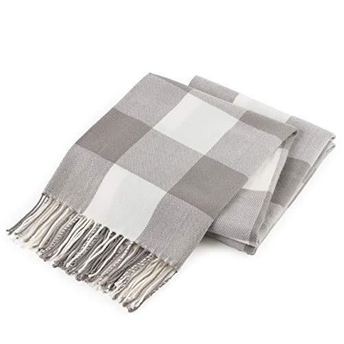 Manta de tela escocesa de búfalo para sofá, manta de casa de campo con patrón de cheques, tejido suave con flecos decorativos, ligera para cama, sofá, silla, oficina, al aire libre, 50 x 60 pulgadas (gris)