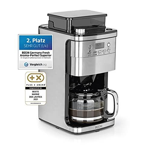 BEEM Fresh-Aroma-Perfect Superior | Filterkaffeemaschine mit Mahlwerk und intelligenter Wasserzufuhr| 1,5 l Glaskanne, 24 h Timer, Warmhalteplatte [Edelstahl, 1050 Watt]