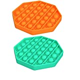 Meifen 2 Pcs Push Pop Bubble Sensory Fidget Toy Stress Reliever Autism Octagon Toy Anti-Anxiety Toys for The Old and The Young (Octagon Orange & Green)