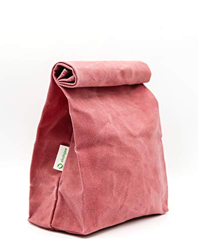 Waxed Canvas Lunch Bag Organic and Reusable in Zero Waste Packaging by EKOLOJEE (Coral Tree Pink)