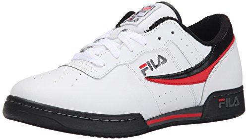 FILA Herren Original Fitness Lea Classic Sneaker, Weiß Schwarz Mohnrot - Größe: 44.5 EU