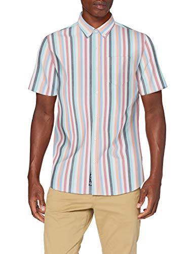 Superdry Herren SS East Coast Oxford Shirt Freizeithemd, Blau (Broad Stripe Blue 0ZM), Medium