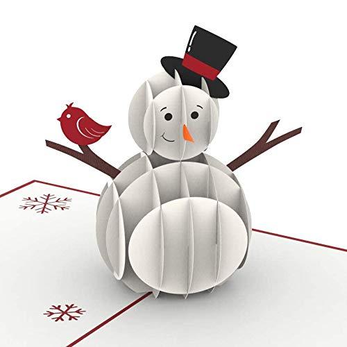PaperCrush® Pop-Up Karte Weihnachten Schneemann - Lustige 3D Weihnachtskarte für Kinder (Mädchen und Jungen), Frau oder Freundin - Handgemachte Geschenkkarte für Winter, Weihnachtszeit
