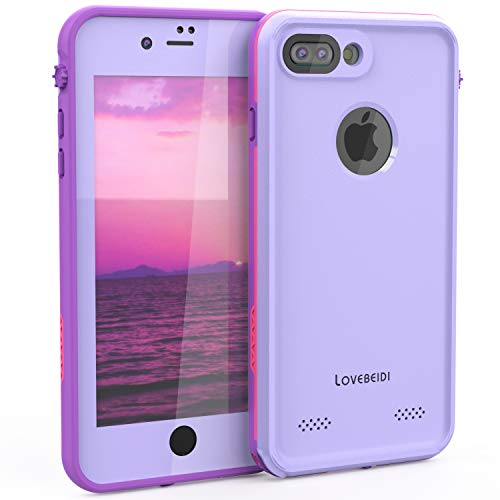 LOVE BEIDI iPhone 8 7 Plus Waterproof Case Cover Built-in Screen Protector Fully Sealed Life Shockproof Snowproof Underwater Protective Cases for iPhone iPhone 8 7 Plus 5.5' (Purple/Rose/Orchid)