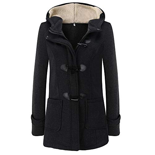 LEXUPE Women Autumn Winter Warm Comfortable Coat Casual Fashion Jacket Long Sleeve Pullover Blouse Hooded Jacket Long Outerwear Dark Gray