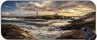 大きなゲーミングマウスパッド、灯台の海の崖の水を離れて道大ゲームマット