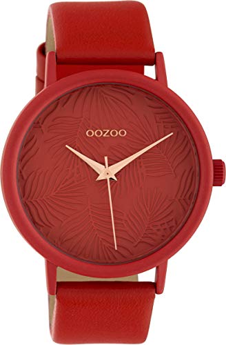 Oozoo Damenuhr mit Lederband 42 MM Colours of Summer Palmen Zifferblatt Unicolor Rot C10163