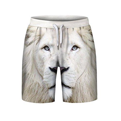 Styledress Herren Shorts Sommer,Herren Badehose Denim Shorts Jeans Sport Shorts Männer 3D gedruckt Elastische Kurze Hosen Jogging Hose Trainingsshorts Sporthose (Weiß, L)