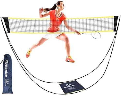 INWAVE Badminton Net Portable with Stand Carry Bag Folding Portable Volleyball Net Easy Setup for Outdoor/Indoor Court, Backyard, No Tools or Stakes Required