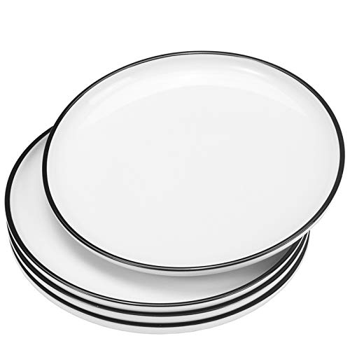 Hoxierence 10-in Ceramic White Dinner Plates, Classic Black Line Edges Round Serving Plate, Suitable for Steak, Pasta, Pizza, Restaurant - Set of 4