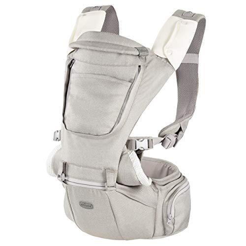 Chicco Hip Seat Carrier - Riñonera para bebé ergonómica de 0 meses a 15 kg, portabebés 3 en 1 multifunción con base rígida desmontable, correas acolchadas y capucha protectora, 8 posiciones – Beige