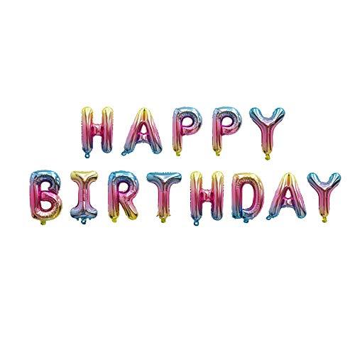 NOBRAND Globo Happy Birthday, Decoración Boda Aniversario, Globo de Cumpleaños Fiesta Suministros Decoración Globo Party, 40cm Cada Letra