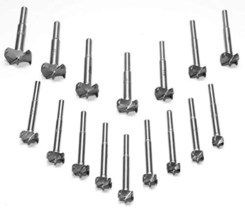 Volterin Forstner 16 Pcs Drill Bit Set 15-35mm, Metal, Thin Stainless Steel Wood Tool Punching Bit Wood Slabs Flat Wing Drilling Hole Carbide Drilling Counterbore (0.4-3.2mm)
