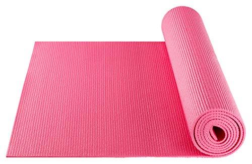 BODYMATE Yogamatte Universal Fuchsia-Pink - Größe 183x61cm – Dicke 5mm – Schadstoffgeprüft frei von Phthalaten, BPA, Schwermetallen – Trainings-Matte für Fitness, Yoga, Pilates, Functional