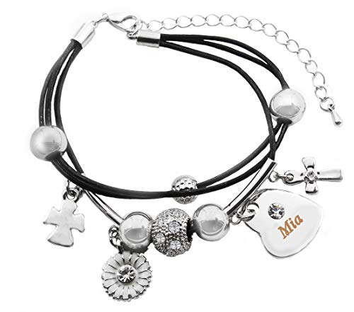 Kigu MIA Name Bracelet - Genuine Leather Multi Strand Bracelet & 18K White Gold Plated Engraved Heart Charm