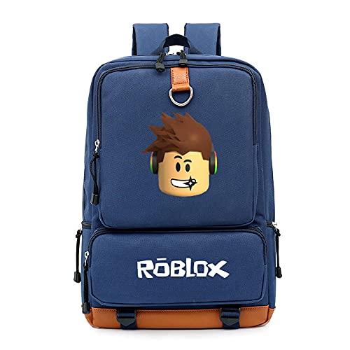 TheMan R-O-B-L-O-X juego Bolso de hombro periférico Hombres y mujeres Bolsa de hombro bolsa de viaje bolsa de computadora bolsa de estudiante mochila-azul marino_Código