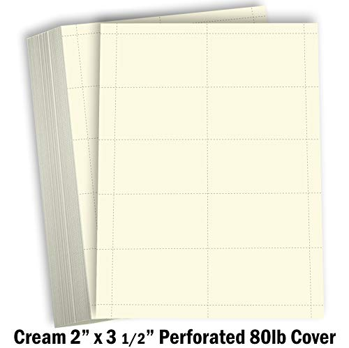 Hamilco Blank Business Cards Cardstock Paper - Cream Perforated Card Stock Heavy Weight 80 lb 3 1/2 x 2' – 100 Sheets 1000 Cards