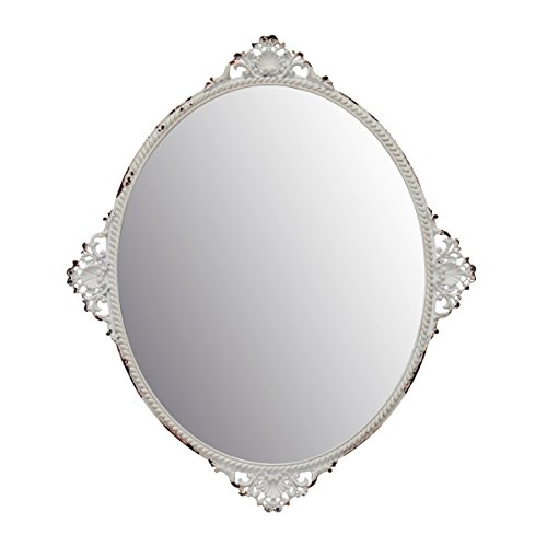 Stonebriar Decorative Oval Antique White Metal Wall Mirror, Vintage Home Décor for Living Room, Kitchen, Bedroom, or Hallway, French Country Decor, For Table Top or Wall Hanging Display