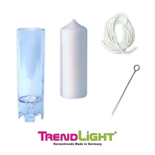 TrendLight Kerzengießform Stumpenkerze 70x185 mm inklusive Docht 1m plus Dochthalter + Anleitung