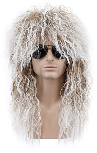Perücke Hippie Rocker für Herren & Damen Fasching Karneval Perücken Blond und Weiß 70er Jahre Heavy Metal 80er Jahre Kostüm Mullet Anime Perücke DE058